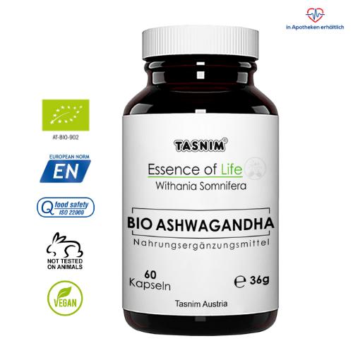 Bio Ashwagandha - 60 Kapseln - Essence of Life - Tasnim
