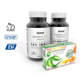 Tasnim Vitamin D3 - Tasnim Omega 3 - Tasnim Schwarzkümmelöl Kapseln